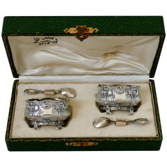 Noiret French Sterling Silver 18-Karat Gold Salt Cellars Pair, Spoons, Box