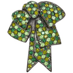 Nolan Miller Bow Pin Brooch Pave Peridot Olivine Emerald Crystal, Gray Gunmetal