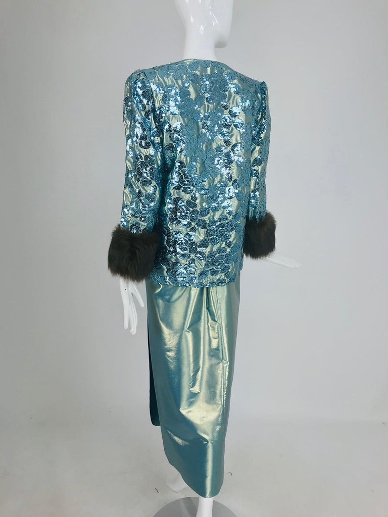 Nolan Miller Dynasty Collection Gown and Fur Trimmed Jacket 1980s For Sale 6