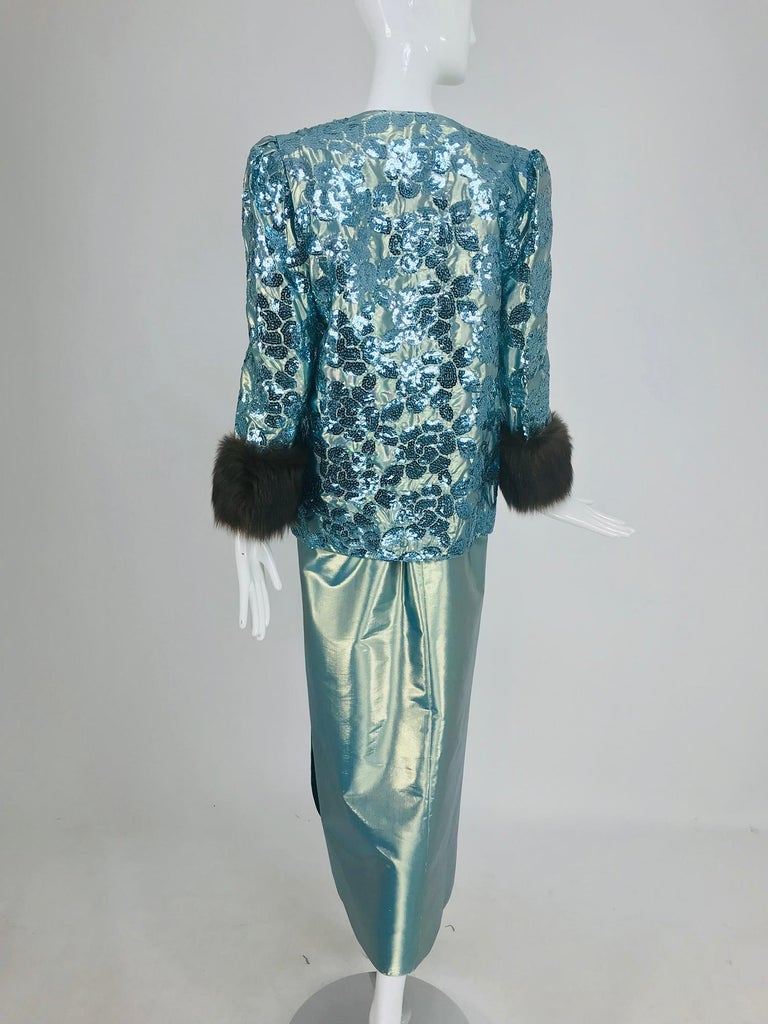 Nolan Miller Dynasty Collection Gown and Fur Trimmed Jacket 1980s For Sale 7