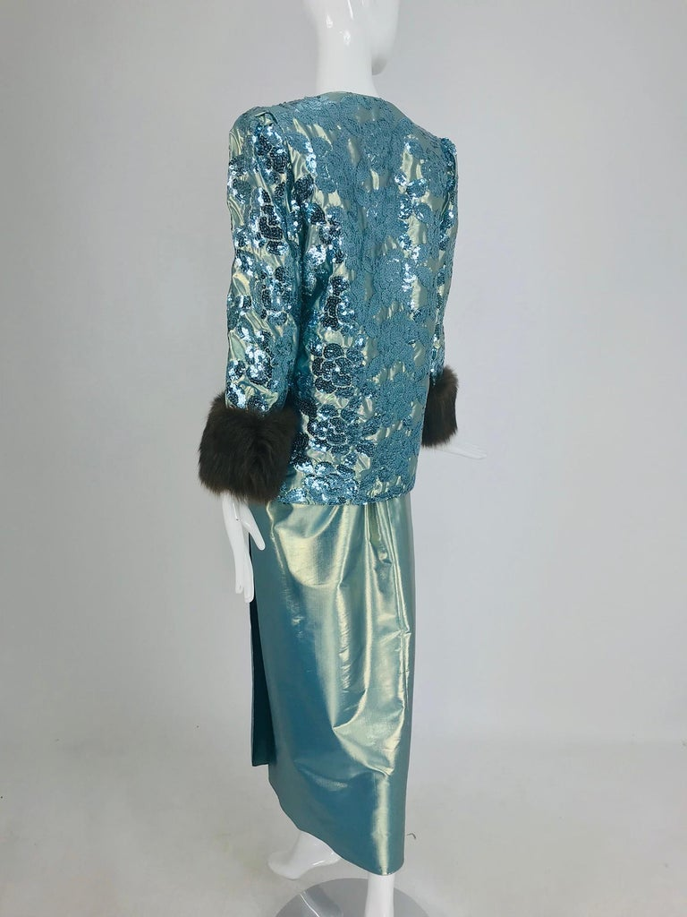 Nolan Miller Dynasty Collection Gown and Fur Trimmed Jacket 1980s For Sale 8