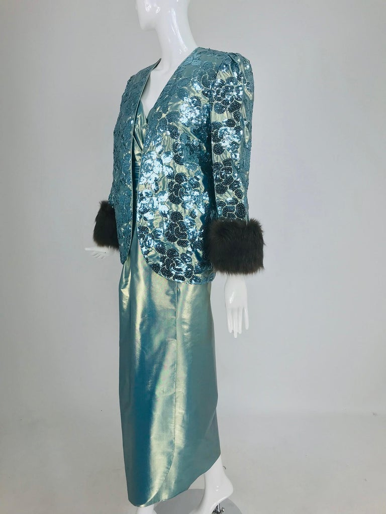 Nolan Miller Dynasty Collection Gown and Fur Trimmed Jacket 1980s For Sale 10