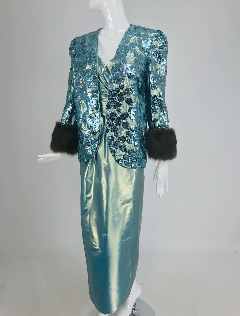 Nolan Miller Dynasty Collection Gown and Fur Trimmed Jacket 1980s For Sale 11