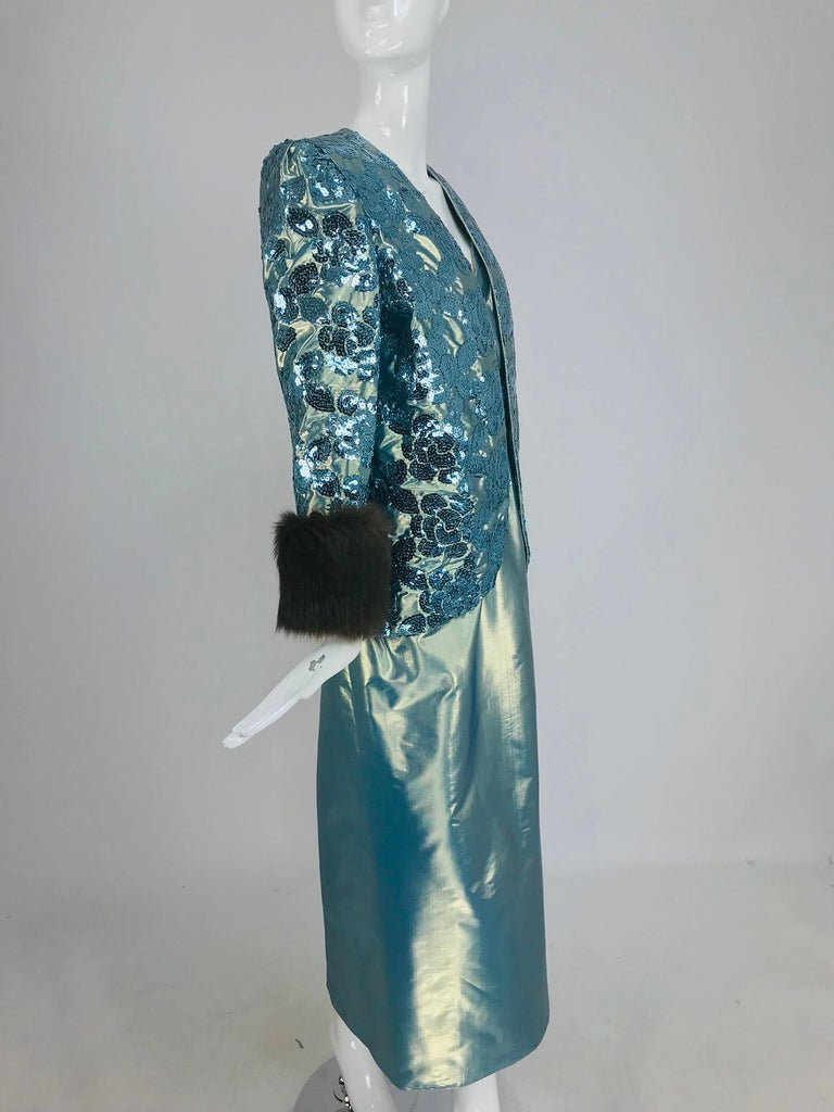 Nolan Miller Dynasty Collection Gown and Fur Trimmed Jacket 1980s In Good Condition For Sale In West Palm Beach, FL
