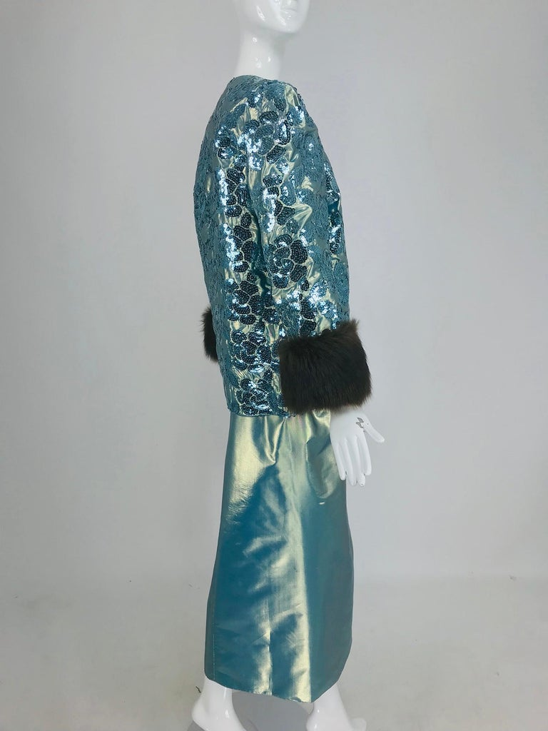 Nolan Miller Dynasty Collection Gown and Fur Trimmed Jacket 1980s For Sale 1