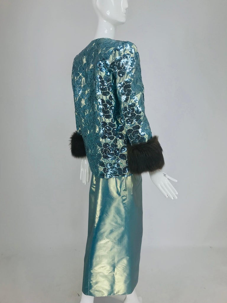 Nolan Miller Dynasty Collection Gown and Fur Trimmed Jacket 1980s For Sale 2