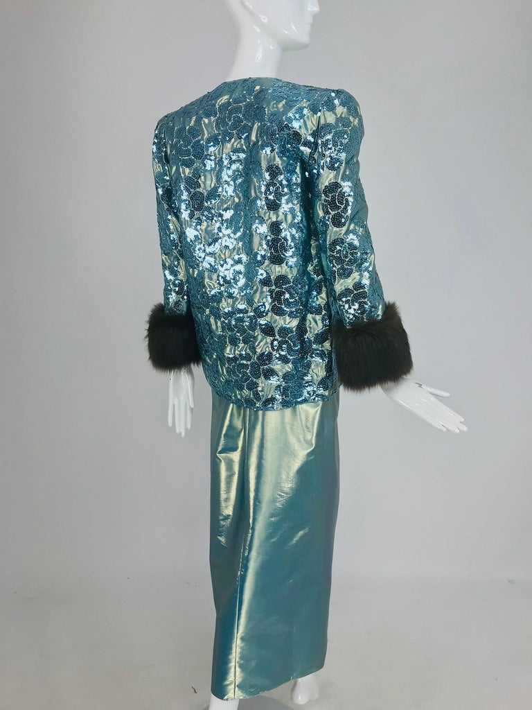 Nolan Miller Dynasty Collection Gown and Fur Trimmed Jacket 1980s For Sale 3