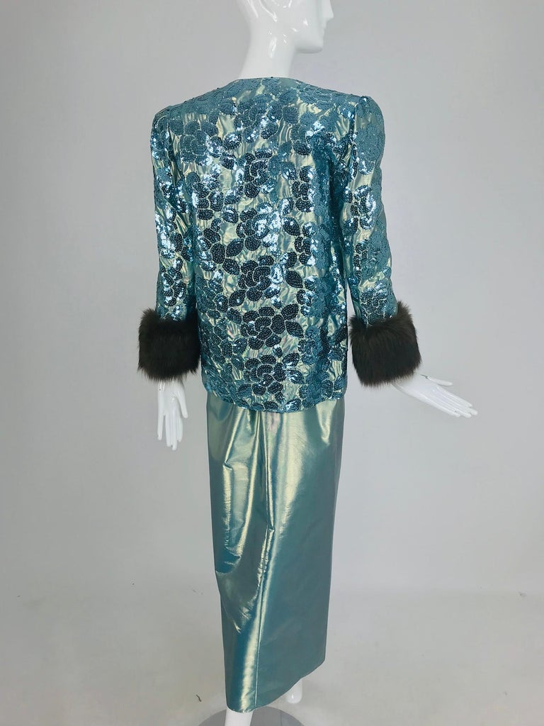 Nolan Miller Dynasty Collection Gown and Fur Trimmed Jacket 1980s For Sale 4