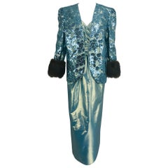 Nolan Miller Dynasty Collection Gown and Fur Trimmed Jacket 1980s