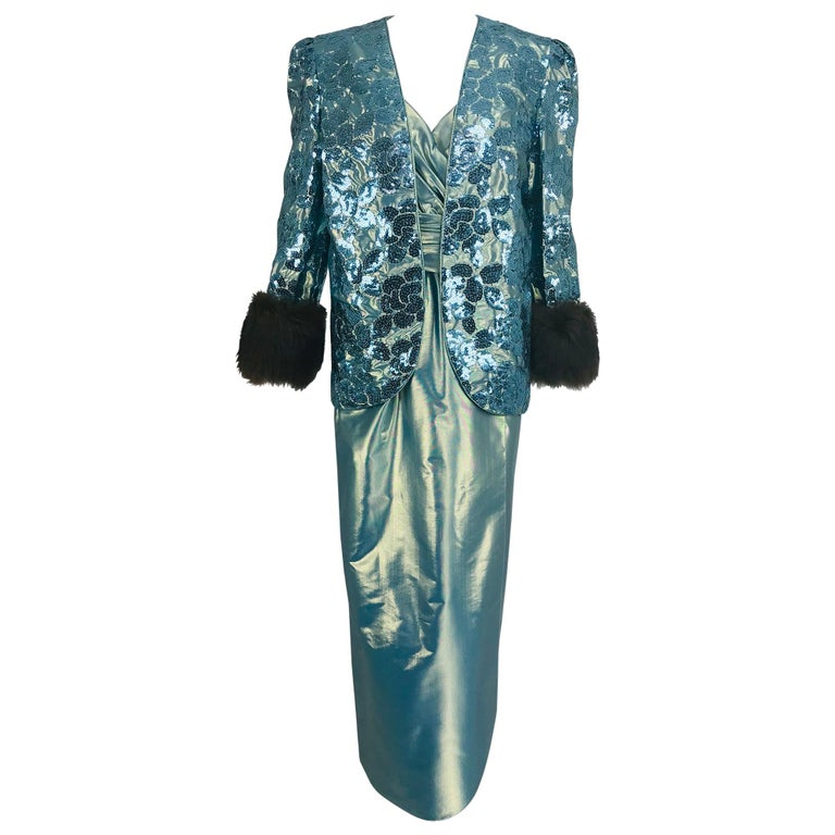 Nolan Miller Dynasty Collection Gown and Fur Trimmed Jacket 1980s For Sale