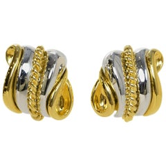 Nolan Miller Gold/Silver Metal Clip-On Earrings
