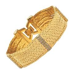 Nolan Miller Star Luster Gold Tone Chain Link Diamante Bracelet circa 1980s
