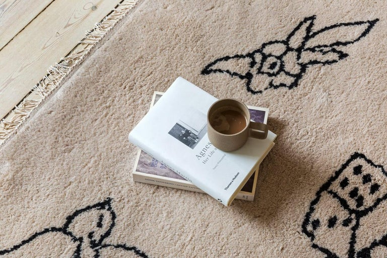 Indian Nomad Sand, Wool Shaggy Berber Rug in Scandinavian Design For Sale