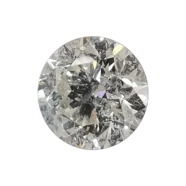 """Non Certified Diamond Brilliant Cut 2.00 Carat, Color """"H-I"""", Clarity SI3-I1 For Sale"""