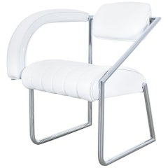 Non Conformist Chair by Eileen Gray, Designed 1926, Chrome White Leather