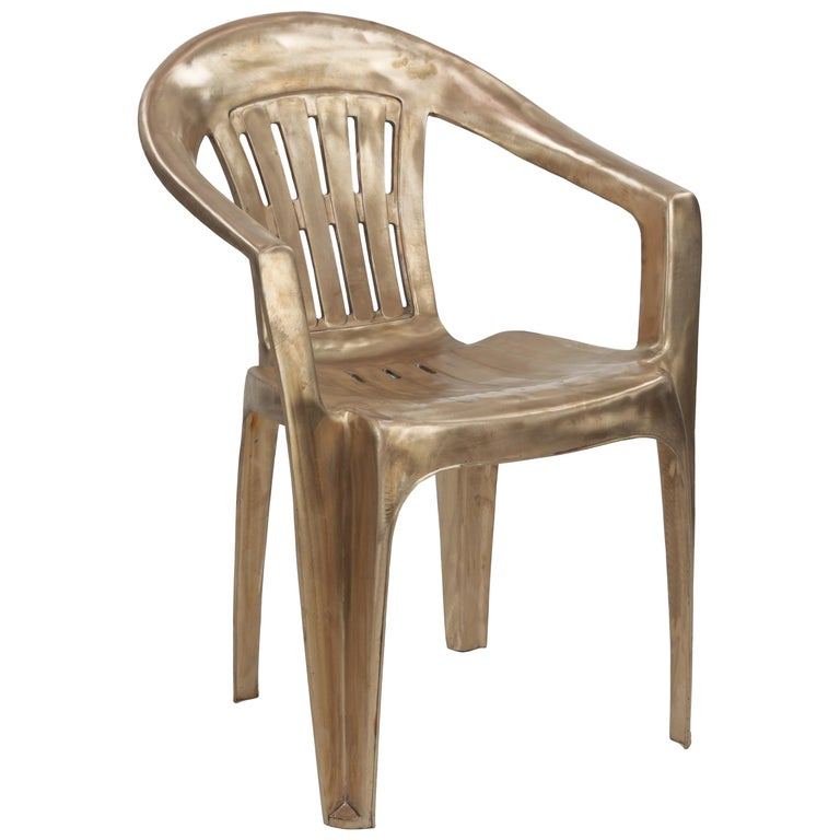 Non-Disposable Disposable Chair in Solid Bronze by Christopher Kreiling For Sale