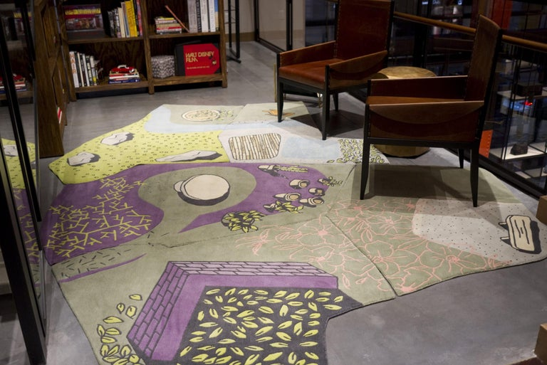 Modern Non-Flying Carpet, a Whimsical Rug Handmade in Nepal, finest wool, 6 pieces For Sale