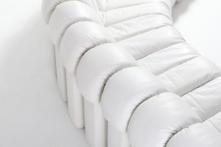Non Stop Sectional Sofa DS-600 by De Sede Switzerland in White Leather For Sale 4