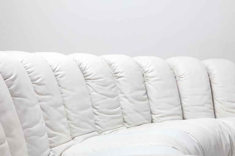 Non Stop Sectional Sofa DS-600 by De Sede Switzerland in White Leather In Excellent Condition For Sale In Antwerp, BE