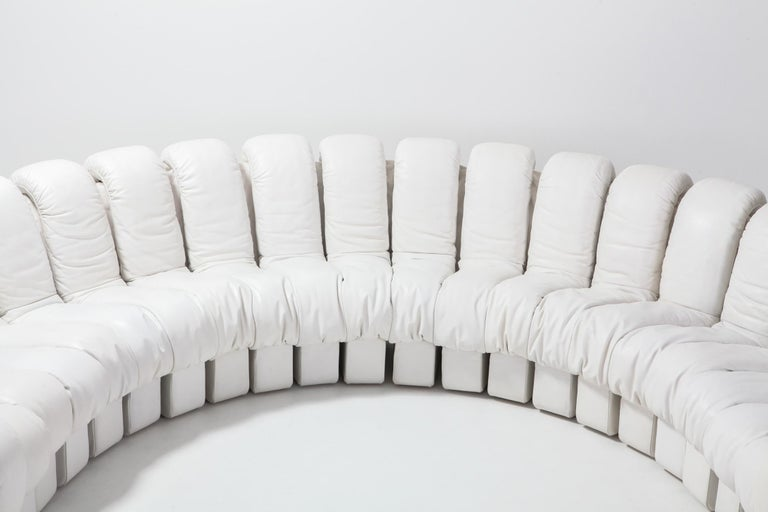 20th Century Non Stop Sectional Sofa DS-600 by De Sede Switzerland in White Leather For Sale