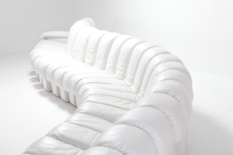 Non Stop Sectional Sofa DS-600 by De Sede Switzerland in White Leather For Sale 3