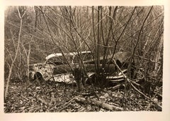 Vintage Silver Gelatin Old Car Wreck Photographer Nona Hatay