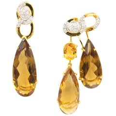 Nonidentical Drop Citrine and Diamond 18 Karat Yellow Gold Pierced Earrings