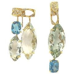 Nonidentical Drop Green Amethyst Blue Topaz and Diamond 18 Karat Gold Earrings