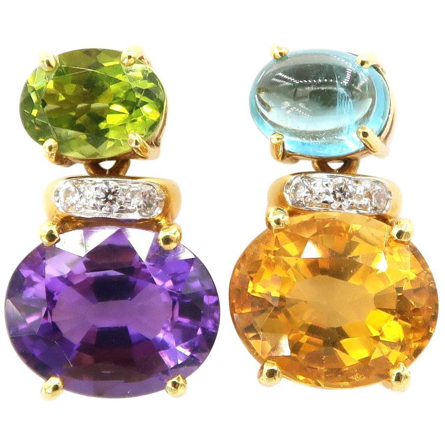 Nonidentical Simple Amethyst Peridot Citrine Apatite Drop Diamond Gold Earrings