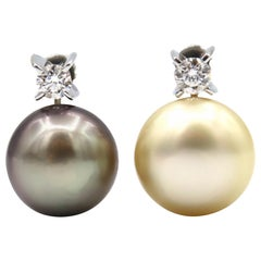 Nonidentical Simple Diamond Light Gold South Sea Tahitian Pearl Clip-On Earrings