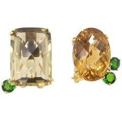 Nonidentical Single Citrine Lemon Quartz Tsavorite Omega Pierced Gold Earrings