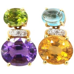 Nonidentical Small Amethyst Peridot Citrine Apatite Drop Diamond Earrings