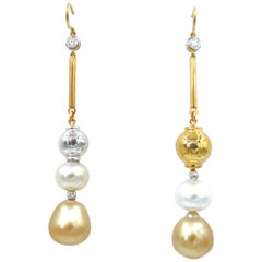 Nonidentical South Sea White Gold Pearl Gold Ball Diamond Bar Hook Earrings