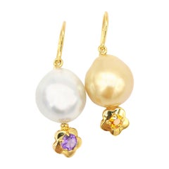Nonidentical White & Gold South Sea Pearl Amythyst Citrine Flower Drop Earrings
