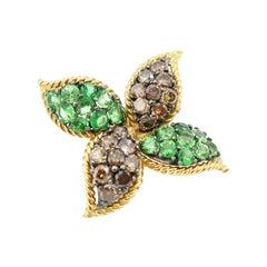 Nonpierced Tsavorite Brown Champagne Diamond Single Windmill 18k Gold Earring