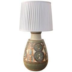 Noomi Backhausen, Large Hand Painted Stoneware Lamp, Søholm, Bornholm, 1970s