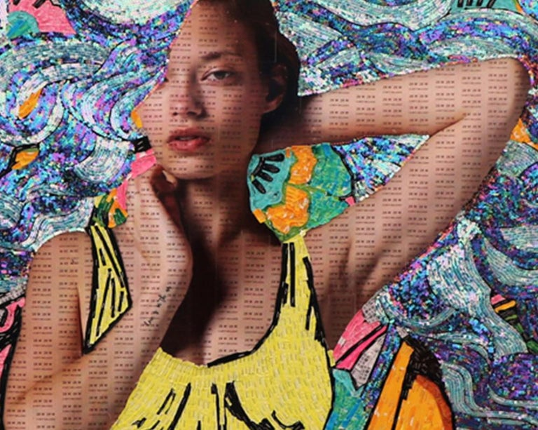 Image composed of recycled textile labels and sequins, around a digital female image, full of bright and vivid colors.