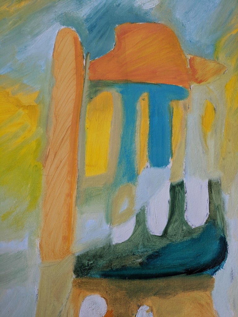 This mixed-media paintinguses oil sticks, pastels, and acrylics on cardboard paper to achieve an abstract piece that has other elements. Echoing the pastels, the colors are mostly in that vein: yellow, blue, turquoise, and so on. Emerging through