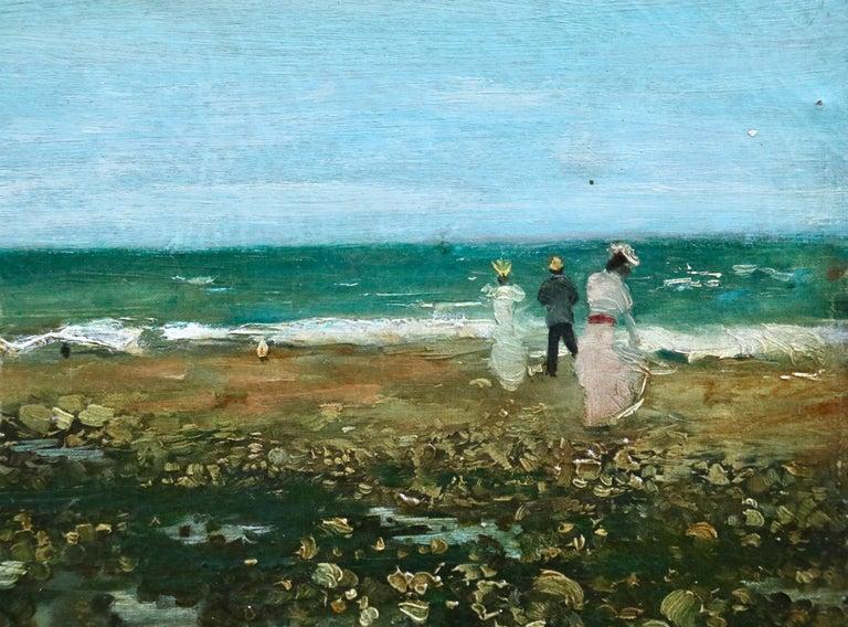 Sur La Plage - 19th Century Oil, Elegant Figures Coastal Landscape - N Goeneutte For Sale 1