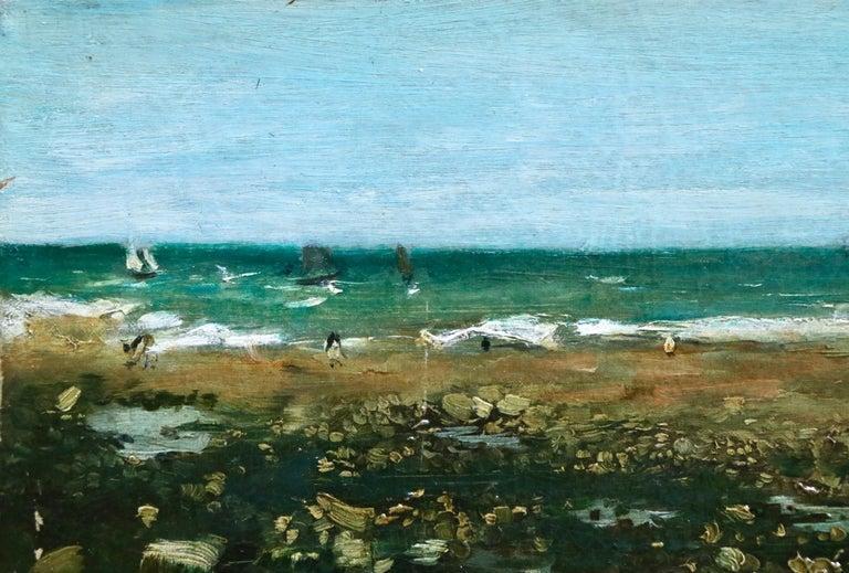 Sur La Plage - 19th Century Oil, Elegant Figures Coastal Landscape - N Goeneutte For Sale 2