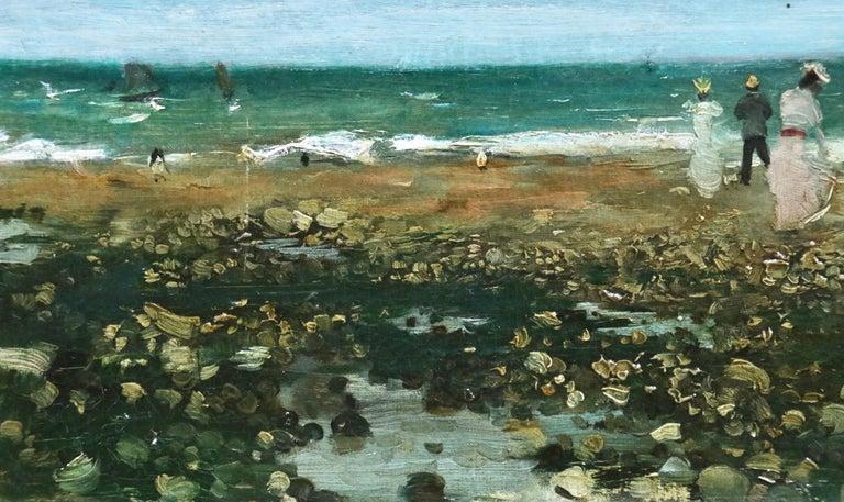 Sur La Plage - 19th Century Oil, Elegant Figures Coastal Landscape - N Goeneutte For Sale 3