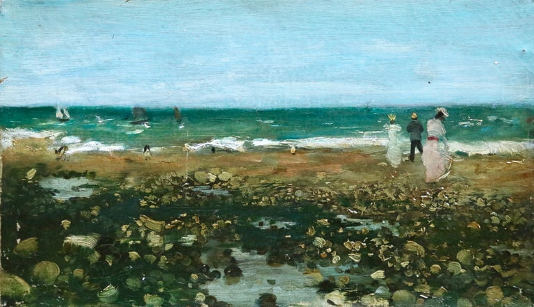 Oil on canvas circa 1880 by Norbert Goeneutte depicting figures in the picturesque scene capturing the waves on the beach as boats sail in the distance. Oil on original canvas. Signed lower left. This paintings is not currently framed but a suitable