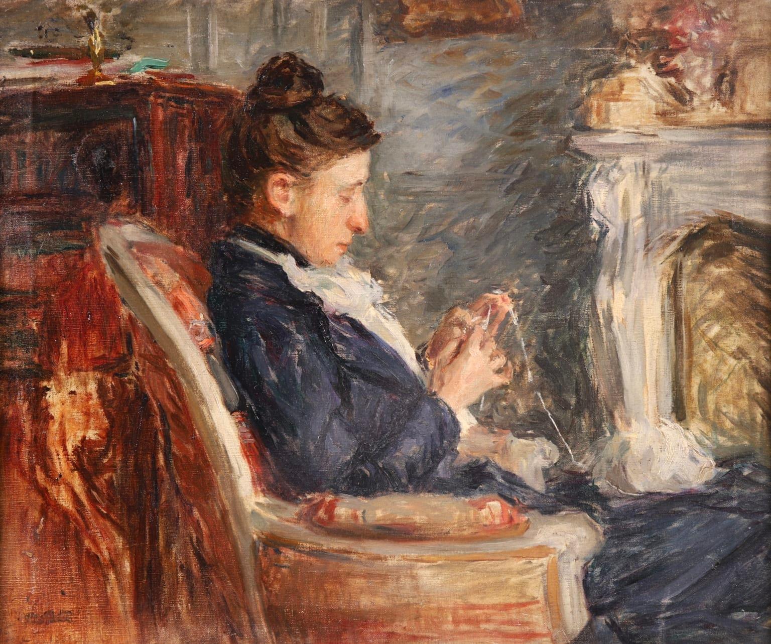 Woman Crocheting - Impressionist Oil, Figure in Interior by Norbert Goeneutte