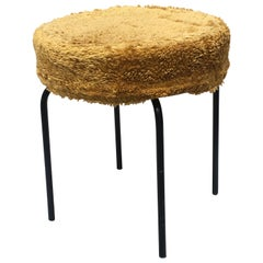 Nord European Black Metal Rod and Yellow Fabric Pouf, 1960s