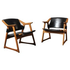 Nordic Midcentury Armchairs, Rolf Hesland, Pair of Fox Chairs