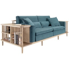Nordic Style Sofa and Bookshelf Room Divider in Walnut or Oak