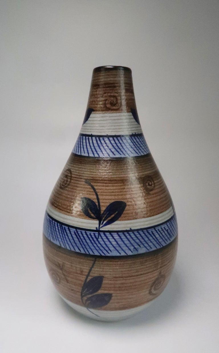 Mid-Century Modern Nordic Vintage Rörstrand Hand Painted Stoneware Vase, 1960s For Sale