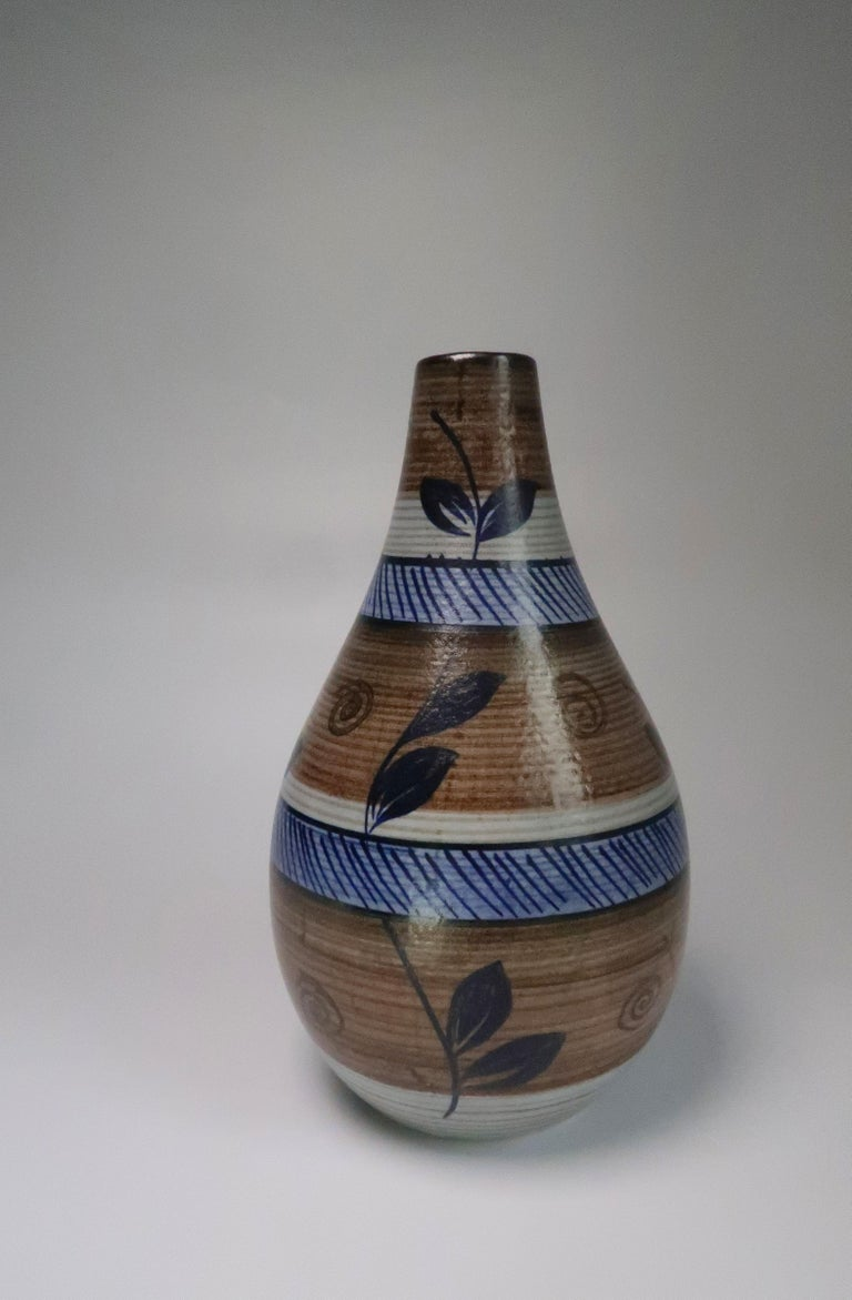 Swedish Nordic Vintage Rörstrand Hand Painted Stoneware Vase, 1960s For Sale