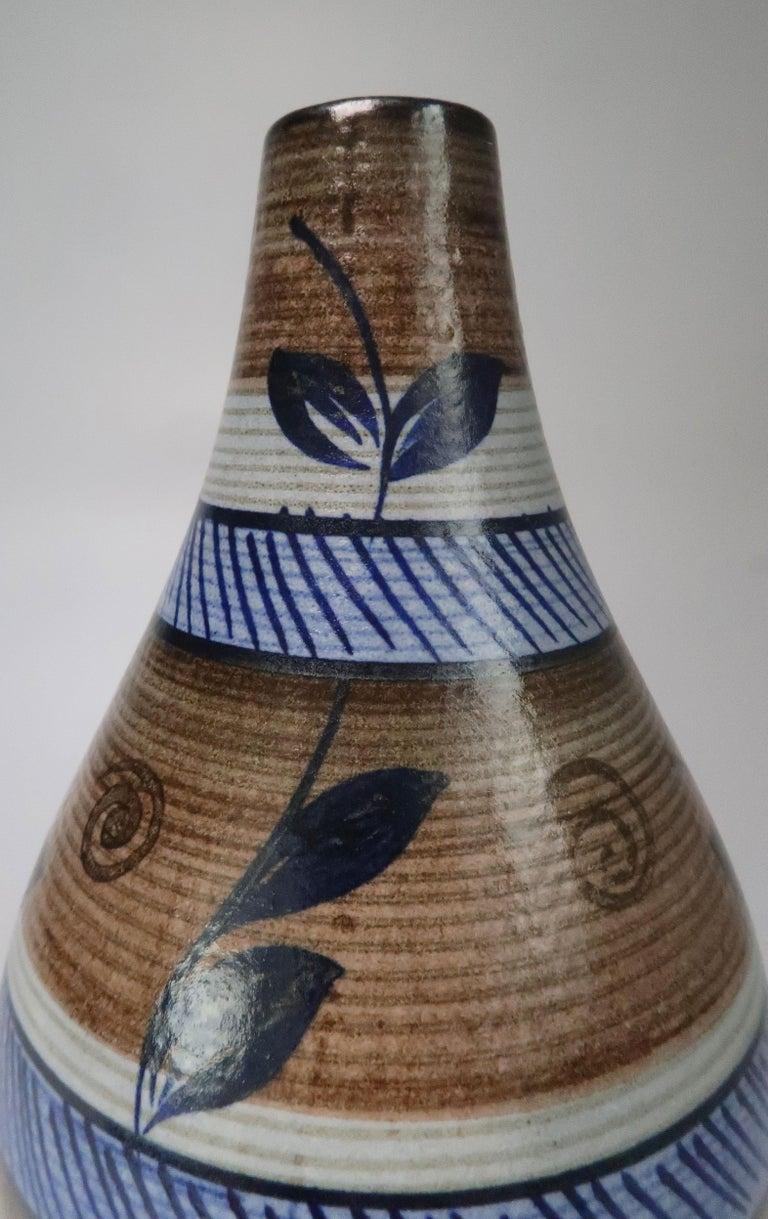 Glazed Nordic Vintage Rörstrand Hand Painted Stoneware Vase, 1960s For Sale