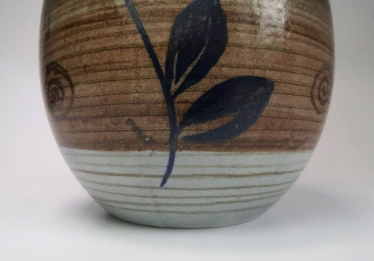 Mid-20th Century Nordic Vintage Rörstrand Hand Painted Stoneware Vase, 1960s For Sale
